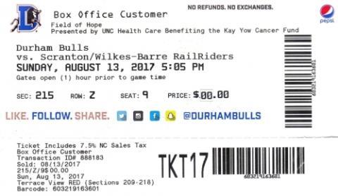 Durham Bulls vs. Scranton/Wilkes-Barre RailRiders