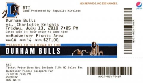 Durham Bulls vs. Charlotte Knights