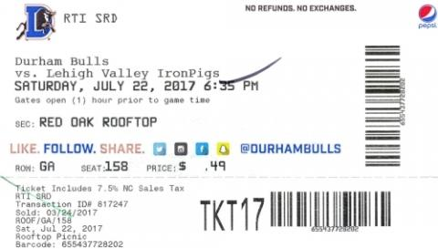Durham Bulls vs. Lehigh Valley Iron Pigs