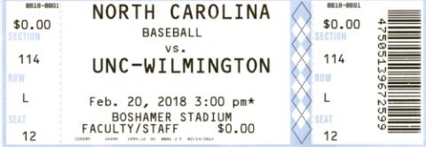 North Carolina vs. UNC-Wilmington Baseball